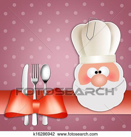 剪贴画 圣诞老人, 带, 厨师长的帽子, 为, 晚餐