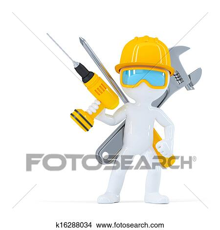 Drawings of Construction worker/Builder with tools ...
