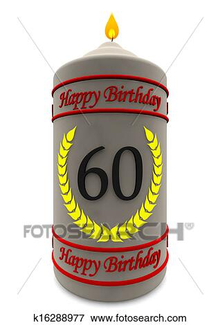 Stock Illustration Of Birthday Candle For 60th Birthday