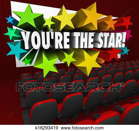 Stock Illustration of You're the Star Movie Theatre Screen ...