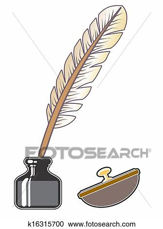 clipart of inkwell and quill k16315700 search clip art
