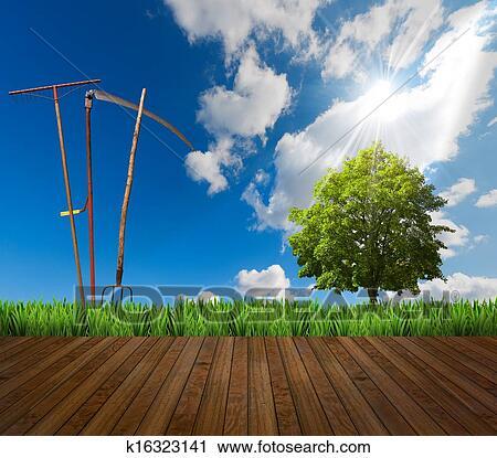 剪贴画 - 农场, 风景,