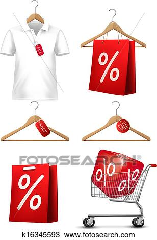 Clipart of Clothes hanger with shirts with price tag ...