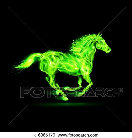 Clip Art of Green fire horse. k16365179 - Search Clipart ...