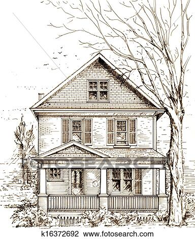 clip art of house with front porch k16372692 search