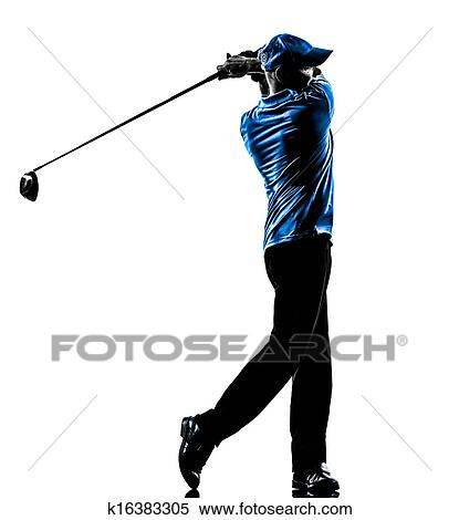 stock image man golfer golfing golf swing silhouette fotosearch search stock photos
