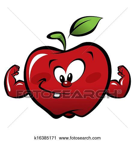 Clipart - feliz, caricatura, fuerte, manzana roja, elaboración, un ...