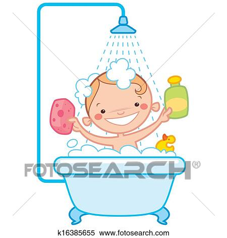 stock illustration of happy cartoon baby kid in bath tub. Black Bedroom Furniture Sets. Home Design Ideas