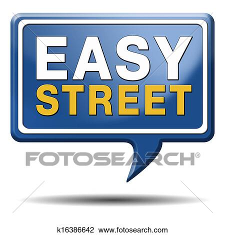 Clip Art of easy street sign k16386642 - Search Clipart ...