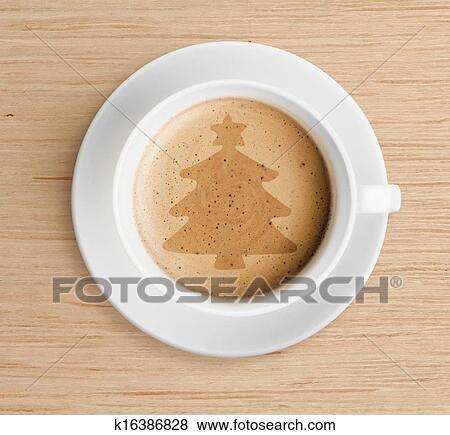 bilder kaffeetasse mit christmasbaumform auf schaum k16386828 suche stockfotos bilder. Black Bedroom Furniture Sets. Home Design Ideas