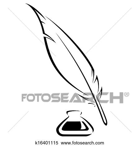 Stock Illustration of Quill and Ink pot black vector icon ...