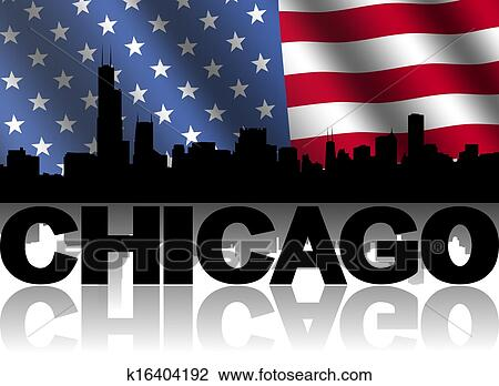Clip Art of Chicago skyline and text reflected with rippled ...
