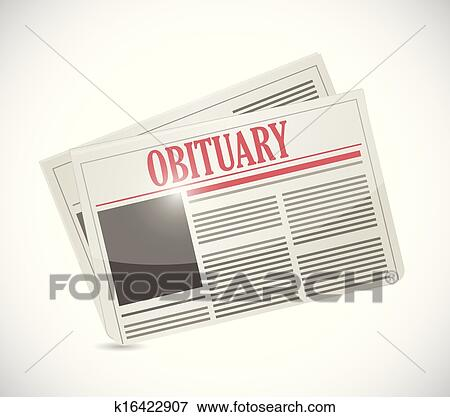 Clip art of obituary newspaper section illustration design for News section design