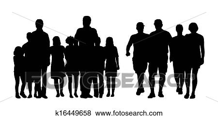 Stock Illustration of groups of people walking outdoor ...