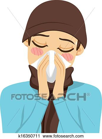 Blowing Nose Clipart