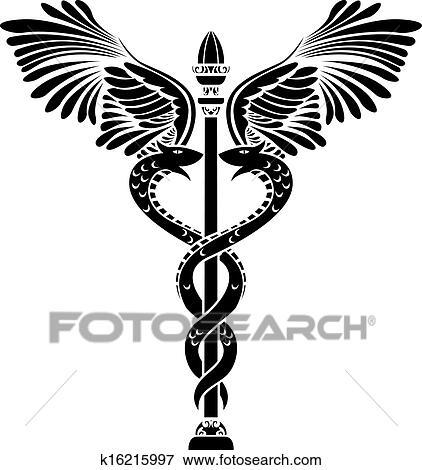 Clip Art Of Medical Symbol Caduceus Silhouette K16215997 Search