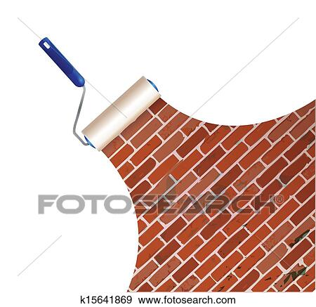clip art of painting a brick wall illustration design k15641869 rh fotosearch com broken brick wall clipart brick wall clip art free