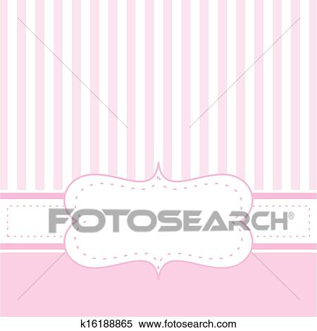 Clipart of pink vector baby card or invitation k16188865 search pink vector card invitation for baby shower wedding or birthday party with white stripes cute background with white space to put your own text stopboris Images
