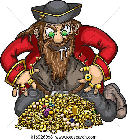 Clip Art - Pirate with gold treasure. Fotosearch - Search Clipart, Illustration Posters, Drawings, and EPS Vector Graphics Images