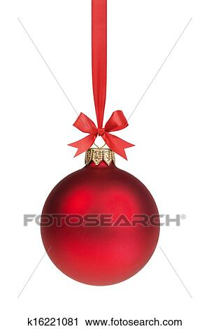 Stock Photography Of Red Christmas Ball Hanging On Ribbon