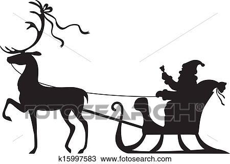 clipart of santa claus riding on a deer sleigh k15997583 search rh fotosearch com santa's sleigh clipart santa sleigh flying clipart