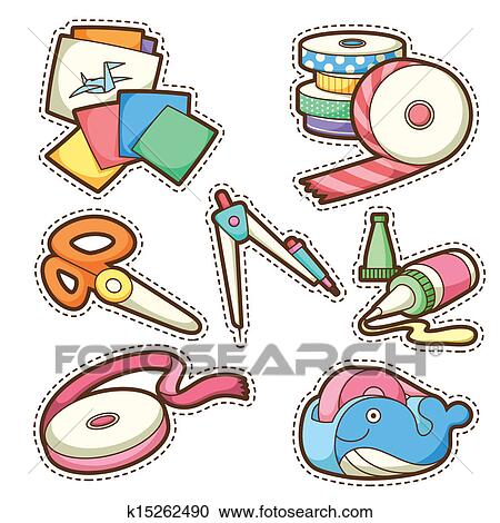 clipart of school set set of different school items k15262490 rh fotosearch com free number clipart for teachers Teacher Owl Clip Art