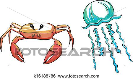 clip art of sea beings crab and medusa k16188786 search clipart rh fotosearch com