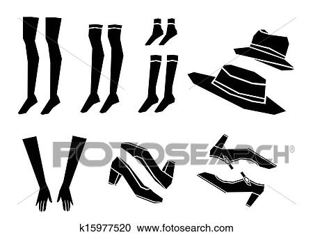 Line Art Shoes : Clipart of shoes socks hat and gloves vector k search