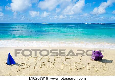 """Stock Photograph of Sign """"Happy Birthday"""" on the sandy ..."""
