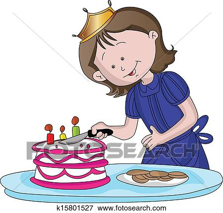 clip art of vector of cute girl cutting cake k15801527 search rh fotosearch com cute muslim girl clipart cute girl monkey clip art