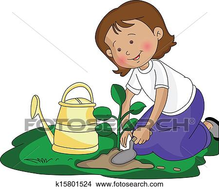 clipart of vector of girl planting a small plant k15801524 rh fotosearch com tree planting clipart planting clipart images
