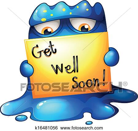 clip art of a blue monster holding a get well soon card k16481056 rh fotosearch com get well cards clipart get well soon cards clipart