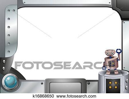 Clipart Of A Metallic Frame With Robot Standing K16868650