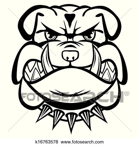 clip art of angry bulldog k16763578 search clipart illustration rh fotosearch com clipart bulldog paw print clip art bulldog and paws