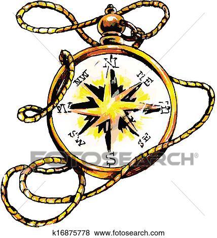 clip art of classic compass k16875778 search clipart illustration rh fotosearch com compass clip art images compass clip art black and white