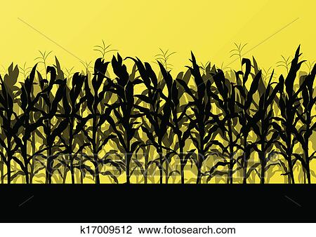 clipart of corn field detailed countryside landscape illustration rh fotosearch com free clipart corn field Corn Field Drawing