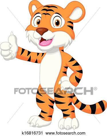 clipart of cute tiger cartoon giving thumb up k16816731 search rh fotosearch com clipart giving directions thanksgiving clipart