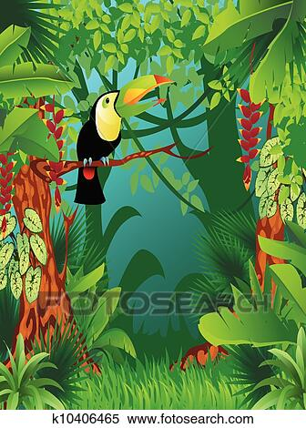 Clipart Of Exotic Tropical Jungle K10406465 Search Clip
