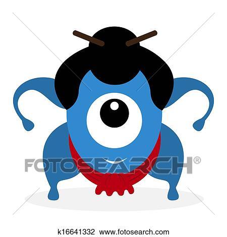 clipart of funny cartoon sumo wrestler cyclops k16641332 search rh fotosearch com free clipart cyclops cyclops clipart