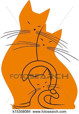 手绘图 - 猫, 家庭图片