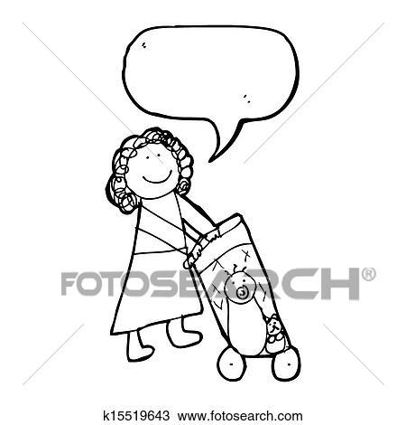 Dessin dessin enfant de a m re poussette - Poussette dessin ...