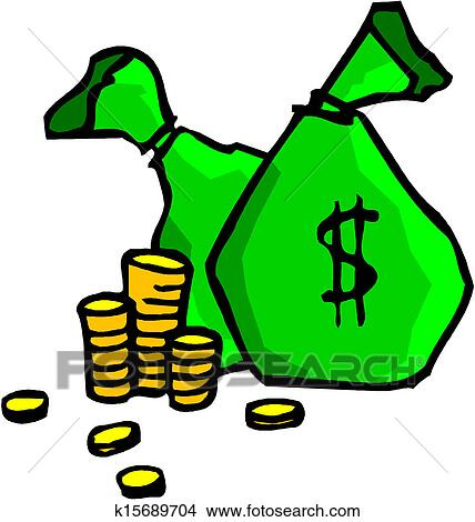 Clipart of Stacks of coins and money bag k15689704 - Search Clip ...
