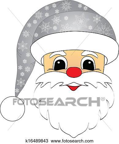 剪贴画 圣诞老人, 头, 隔离