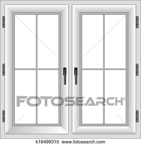 Clipart of plastic closed double window Vector illustration
