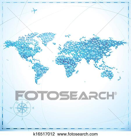 剪贴画 - 象素, 世界地图