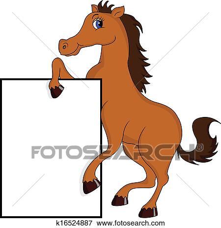 Clipart mignon cheval dessin anim signe blanc k16524887 recherchez des cliparts des - Clipart cheval ...