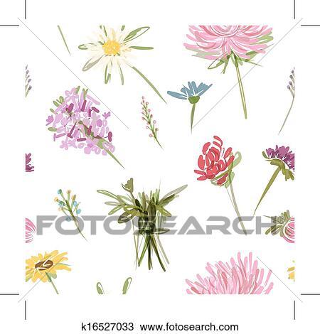 Clipart kleingarten blumen seamless muster f r dein for Kleingarten design
