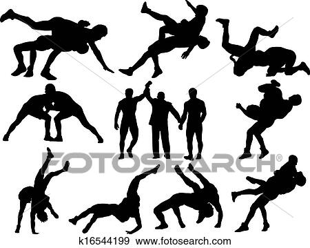 Clip Art Wrestler Clipart wrestling clip art and illustration 2297 clipart vector silhouettes