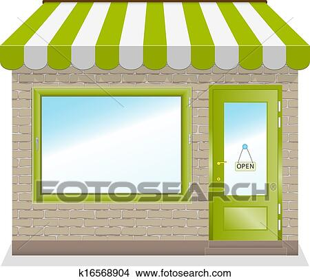Clipart Of Cute Shop Icon With Green Awnings K16568904