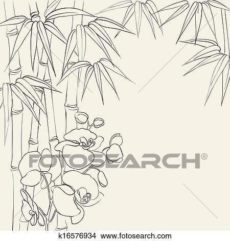 手绘图 - 兰花, 花, 同时